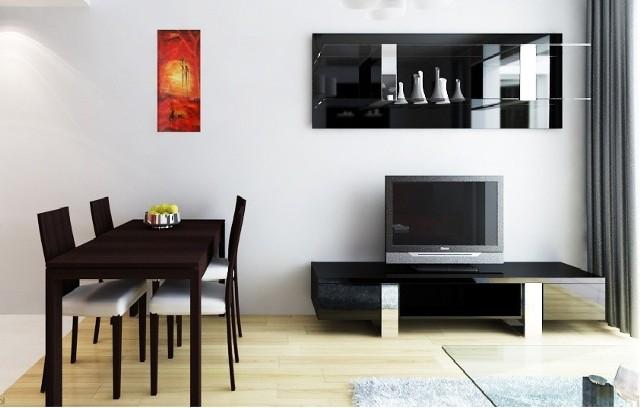 """Wizualizacja mieszkania, nagrody głównej w loterii """"Mieszkanie za czytanie"""". Elementy wyposażenia wnętrza nie stanowią części nagrody."""