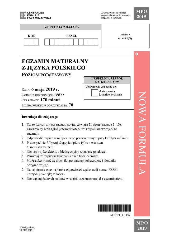 Matura 2019 Język Polski Odpowiedzi Podstawa Arkusze Cke