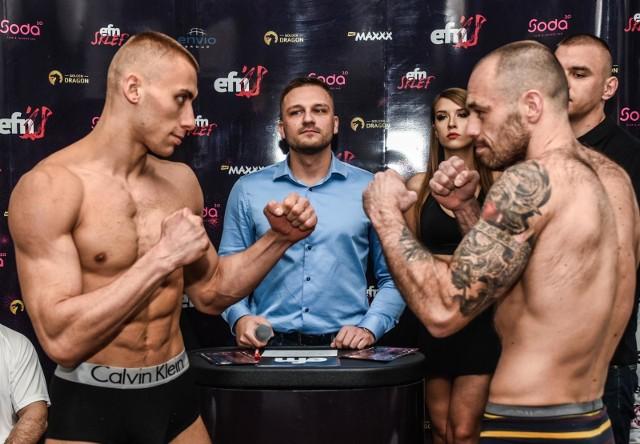 W sobotę o godz. 18.00 w bydgoskiej Artego Arenie odbędzie się ENVIO FIGHT NIGHT'18. Podczas gali zobaczymy 9 pojedynków (w tym jeden z udziałem pań) w formule MMA i K-1. W pierwszych ośmiu walkach w klatce zaprezentuje się przynajmniej jeden przedstawiciel gospodarzy, z kolei w walce wieczoru, w formule K-1 do 77 kg, zobaczymy dwóch bydgoszczan: Damiana Walucha (z lewej) i Łukasza Rambalskiego (z prawej). Zobacz zdjęcia z ceremonii ważenia >>>