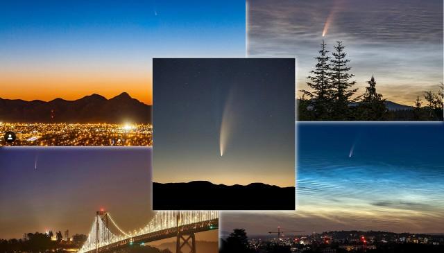 """Kometę C/2020 F3 (NEOWISE) można już obserwować z terytorium Polski. Należy jej wypatrywać na północno-wschodnim horyzoncie - w pierwszej dekadzie lipca jakieś około 2,5 godziny przed wschodem Słońca do 1 godziny przed wschodem (z każdym dniem okienko obserwacyjne będzie się wydłużać, ale blask komety będzie malał). Obserwatorzy mają sporo szczęścia. W lipcu na niebie można obserwować również obłoki srebrzyste. Widok """"skąpanej"""" w nich komety C/2020 F3 (NEOWISE) naprawdę robi wrażenie. Media społecznościowe zalało mnóstwo zdjęć pokazujących piękne zjawisko. ▶ Zapraszamy do ich obejrzenia - na następnych stronach osadzamy najciekawsze fotografie. ▶"""