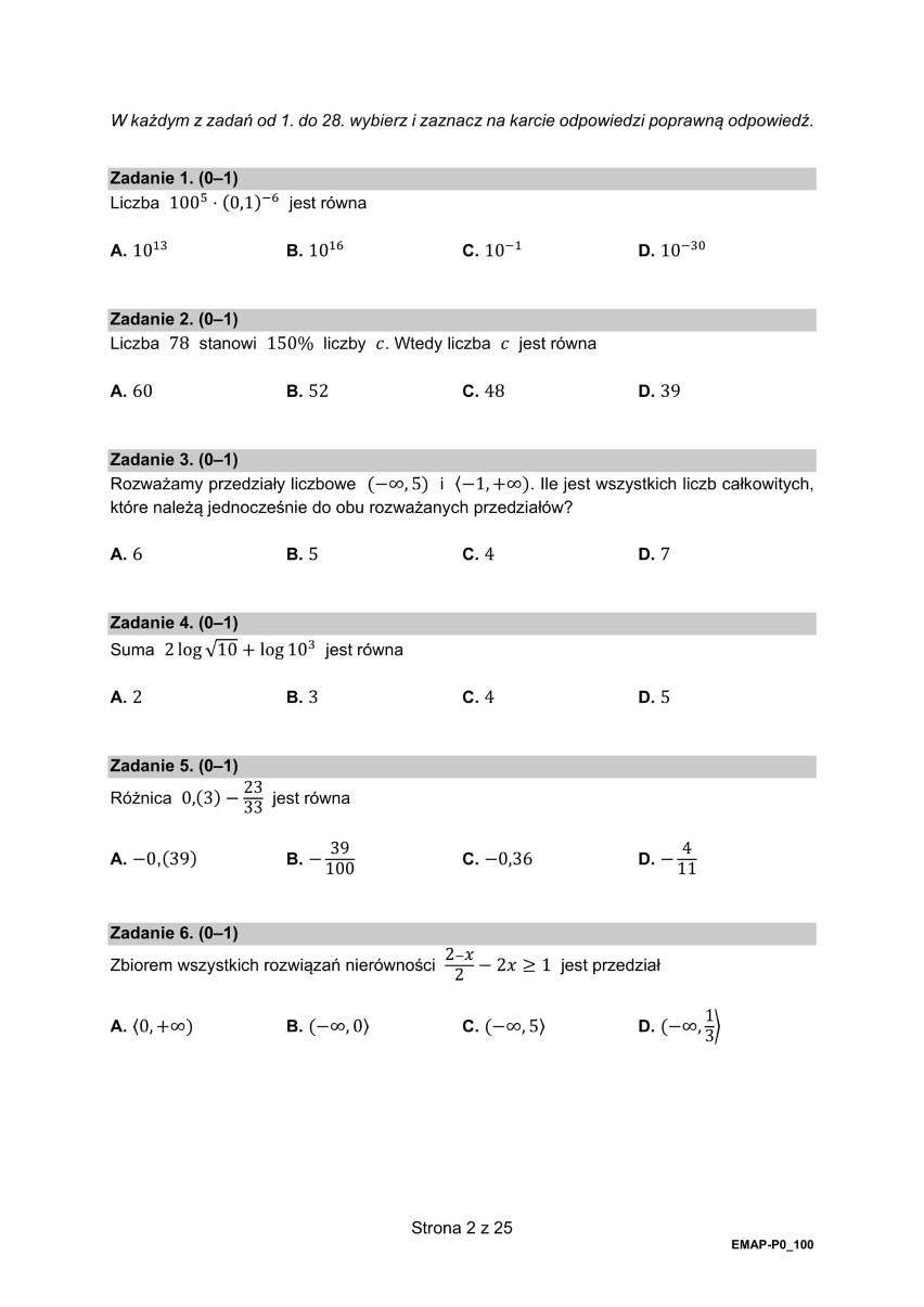 Oto arkusze CKE z matury z matematyki na poziomie...