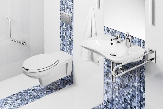 Łazienka dla osoby niepełnosprawnejUrządzając łazienkę dla niepełnosprawnych, należy zaplanować rozmieszczenie sprzętów tak, by umożliwiały one poruszanie się osobie korzystającej z wózka inwalidzkiego, kul lub chodzika. Konieczną do przeanalizowania kwestią jest także wysokość, na jakiej umieszczone zostaną umywalka i sedes.