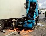 Wypadek na autostradzie A4 w Gliwicach. Zmiażdżone ciężarówki zablokowały przejazd