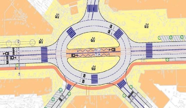 Warianty zmian przygotowała pracownia Damart. Rondo na Pl.Zgody. Torowisko tramwajowe w obrębie jezdni alei.
