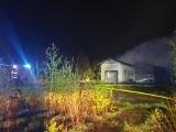 Pożar w Rębielczu w gm. Pszczółki [4.05.2020]. Palił się opuszczony budynek byłego tartaku. Ogień gasiło 9 zastępów straży [zdjęcia]