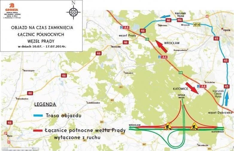 10 lipca częściowo zamknięty zostanie węzeł Prądy na autostradzie A4