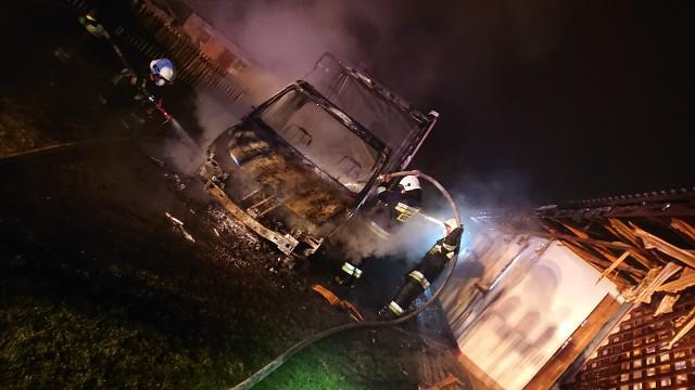 Przez blisko dwie godziny w nocy z wtorku na środę strażacy prowadzili działania ratowniczo - gaśnicze na jednej z posesji w Nowej Wsi, w powiecie niżańskim, gdzie płonął samochód i ogień przenosił się na stojący obok dom. ZOBACZ NA KOLEJNYCH SLAJDACH>>>Strażacy zostali zadysponowani do pożaru przed godziną 1.30- Po dojeździe na miejsce zastaliśmy rozwinięty pożar samochodu dostawczego, który zaczynał się przenosić na poddasze domu rodzinnego - relacjonują strażacy z Ochotniczej Straży Pożarnej w Przędzelu, którzy pierwsi dotarli na miejsce pożaru.Ochotnicy w aparatach ochrony dróg oddechowych rozwinęli dwie  linie gaśniczej - jedną na palący się samochód, drugą w obronie budynku mieszkalnego.Na miejsce zdarzenia w kolejnych minutach dojechały inne zastępy - z OSP Przędzel Kolonia a także trzy zastępy Państwowej Straży Pożarnej w Nisku. Dzięki sprawnej i szybkiej akcji strażacy opanowali ogień i zapobiegli jego rozprzestrzenieniu się na dom. Samochód spłonął doszczętnie.