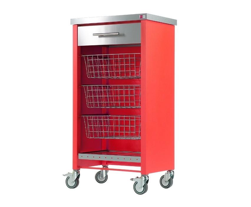 Kolorowa szafka Przyciąga uwagę intensywną barwą.