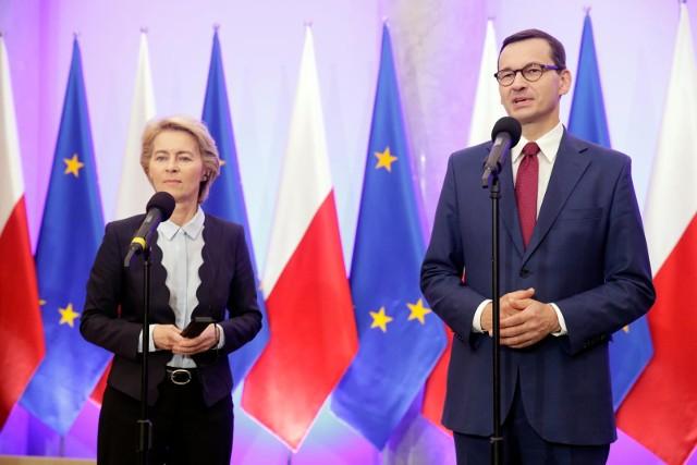 Spotkanie premiera Mateusza Morawieckiego i szefowej Komisji Europejskiej Ursuli von der Leyen. Tematem Zielony Ład i KPO