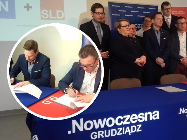 Dziś w Marinie Michał Dzięcielewski (na zdjęciu od lewej) w imieniu Nowoczesnej Grudziądz oraz Łukasz Kowarowski w imieniu SLD podpisali porozumienie w sprawie wspólnego startu w wyborach samorządowych w Grudziądzu.
