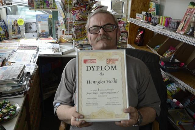 Henryk Holka, prowadzi Rodzinny Kiosk przy ul. Kostrzyńskiek 59 w Gorzowie Wielkopolskim