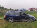 Wypadek na trasie Jałówka - Bagny. Fiat zderzyl się z volkswagenem