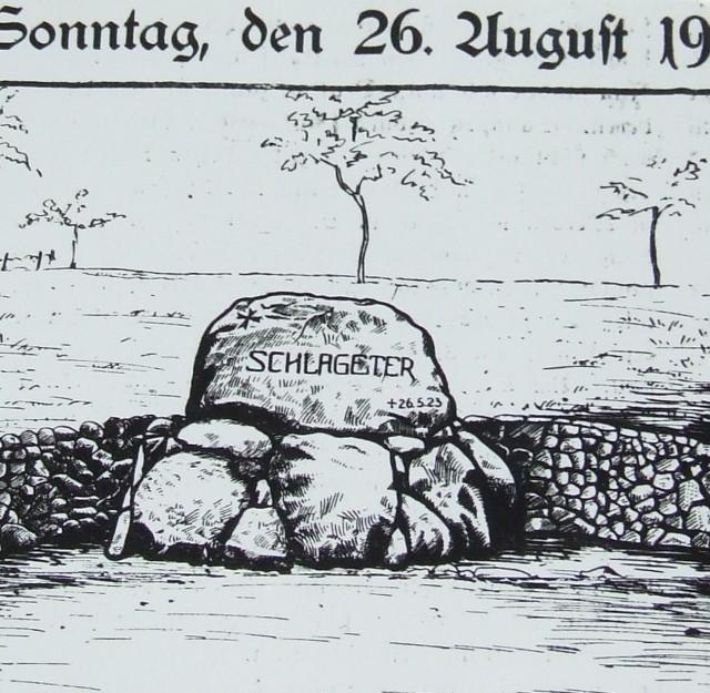 Na tej rycinie widać, jak pierwotnie wyglądał pomnik postawiony w 1928 r. ku czci młodego działacza politycznego Alberta Leo Schlagetera