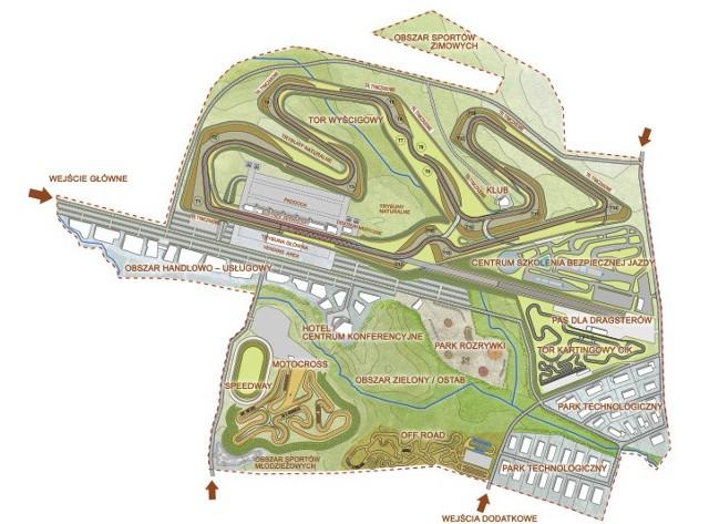 Tak  miałoby być rozplanowane Narodowe Centrum Sportów Motorowych i Rekreacji w Gdańsku