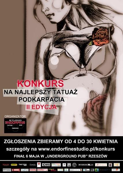 """Plakat II edycji konkursu na """"Najlepszy Tatuaż Podkarpacia""""."""