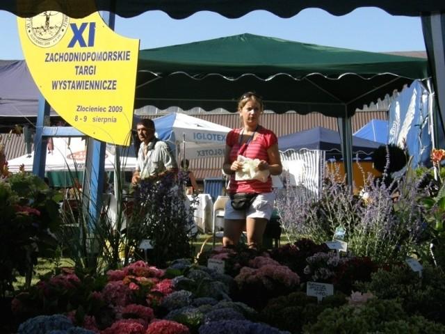 W Złocieńcu swoje produkty prezentuje również firma ogrodnicza z Węgorzyna. – Gorąco polecam jesienne kolory hortensji, są przepiękne – przekonuje Anna Macedońska, współwłaścicielka firmy (na zdjęciu).