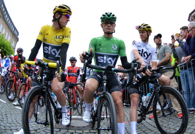 02.07.2017 dusseldorf wyscig tour de france drugi etap tdf2017 tdfchris froome wasil kiryjenka geraint thomas fot. sylwia dabrowa / polska press