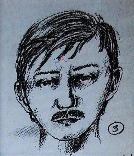 Portret pamięciowy sprawcy - 19-letniego poznaniaka. Skan opublikowanego zdjęcia z tygodnika Dzień po dniu z 4 października 1995 roku