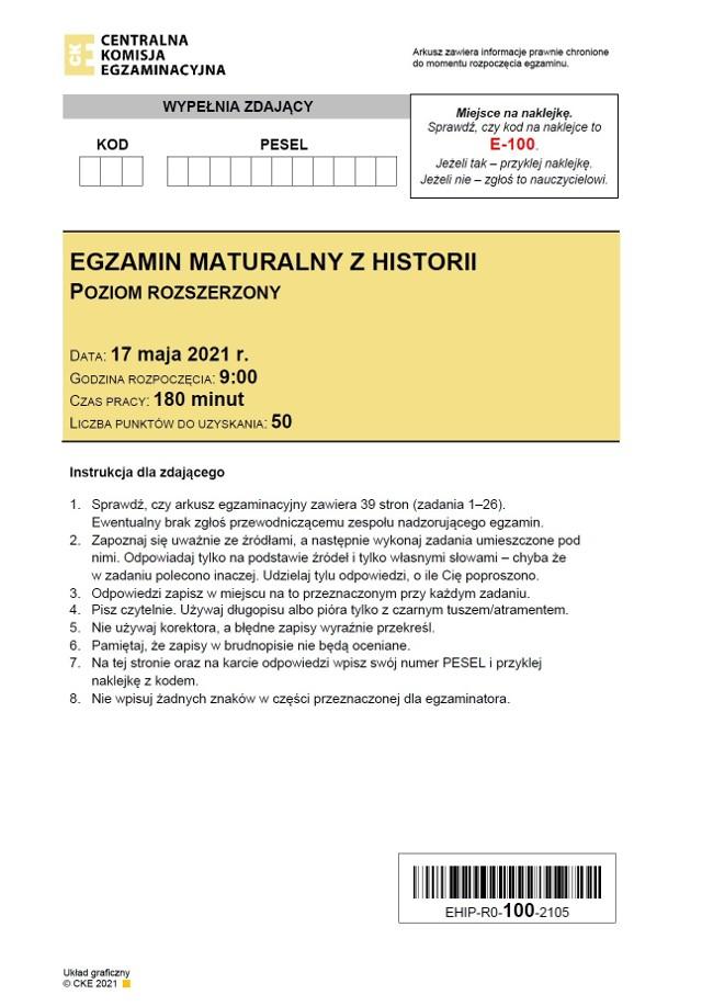 ODPOWIEDZI do matury 2021 z historii >>>Odpowiedzi pojawiają się na bieżąco, od godz. 14.