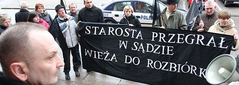 Mieszkańcy Bydlina i Machowina podczas dzisiejszego protestu.