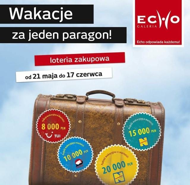 W Galerii Echo już w najbliższy poniedziałek, 21 maja, startuje nowa Loteria Wakacje za jeden paragon.