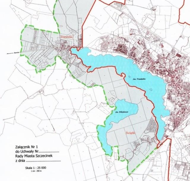 Tak według planów szczecineckich radnych miejskich mają wyglądać przyszłe granice administracyjne Szczecinka. Bój idzie nie tyle o ziemię, ile o przejęcie całości brzegów Perły Pojezierza Drawskiego - jeziora Trzesiecko.