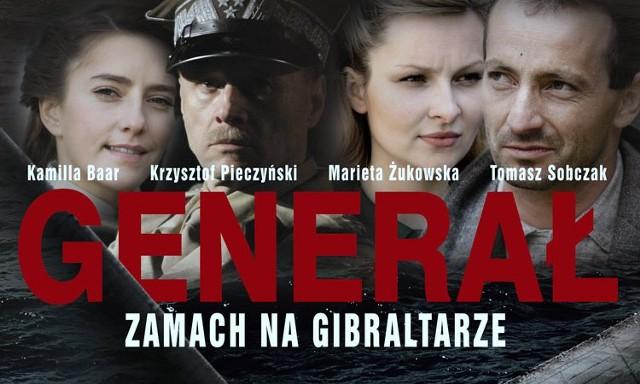"""Plakat z filmu """"Generał: Zamach na Gibraltarze""""."""