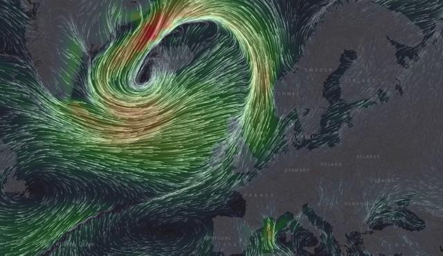 Wizualizacja z mapy aktualnych wiatrów. Orkan Aleksandra nadchodzi nad Europę.