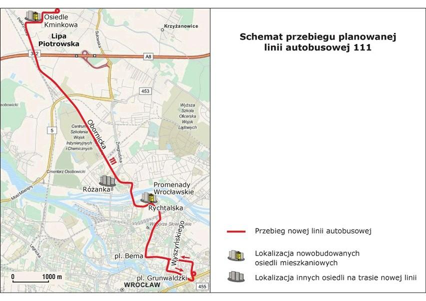 Schemat trasy nowej linii autobusowej 111