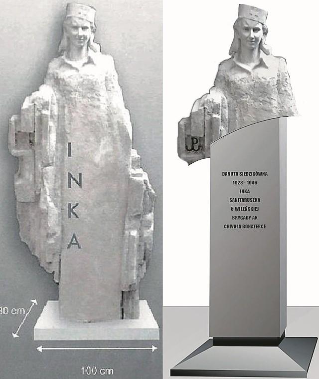 Pierwotna wersja pomnika (po lewej) urzędnikom się nie podobała. Stanęło na tym, że powłóczystą szatę zastąpi cokół