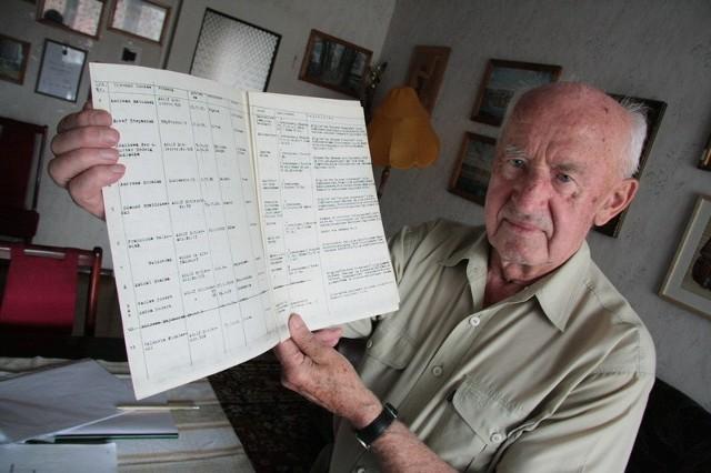 - Ten dokument potwierdza zbrodnicze plany hitlerowców. To kopia listy proskrypcyjnej, na której umieszczono nazwiska osób wytypowanych do wysiedleń - mówi Łucjan Sobkowski.