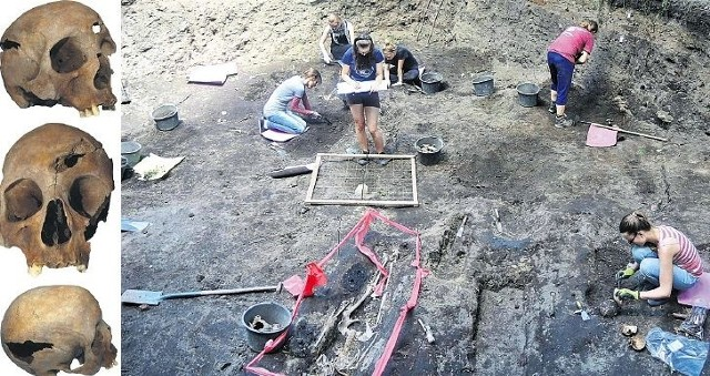 Wykop na terenie dawnego cmentarza i kaplicy, dzisiejszej wyspy drogowej. Z lewej wykopana tam czaszka mężczyzny, który prawdopodobniepoległ na wojnie siedmioletniej (1756-63).