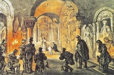Nabożeństwo w kaplicy Św. Antoniego (wg L.Oeser, Neusalza, 1840 r.) Fot. Marian Nędza, Artur Grzybowski (z książki Żupa Solna w Wieliczce)