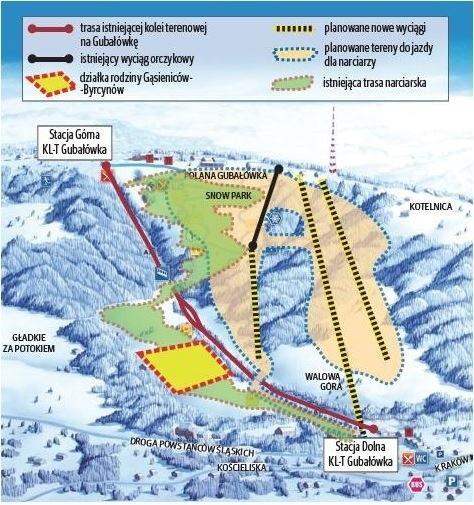 Na mapie widać, jak obecnie wygląda (nieczynna) trasa na Gubałówce oraz jaki jest pomysł na obejście działek Byrcynów