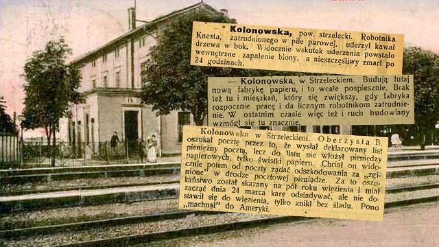 Tak wyglądają wycinki z gazet sprzed 100 lat dotyczące Kolonowskiego.