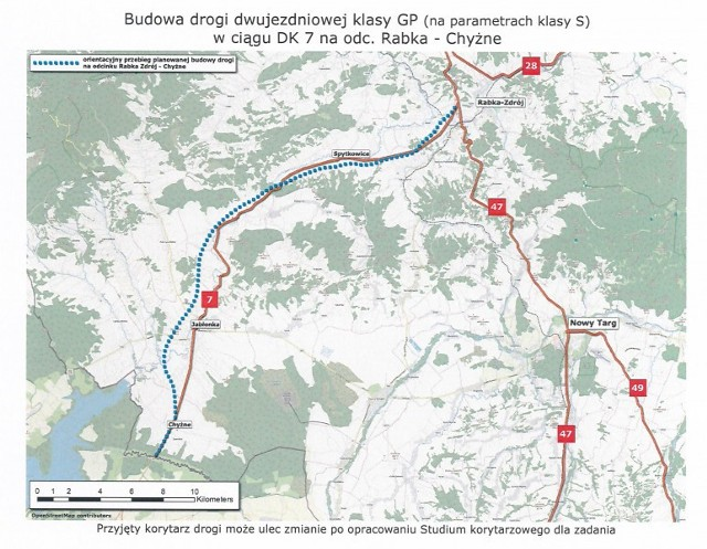 Trasa Rabka-Chyżne będzie przebiegać nowym śladem