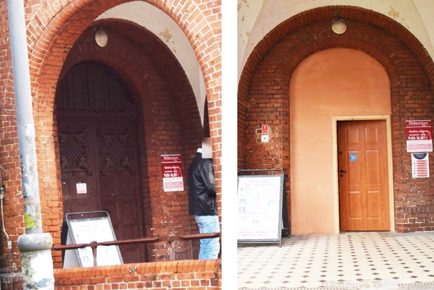 Z lewej zabytkowe drzwi, z prawe nowe...