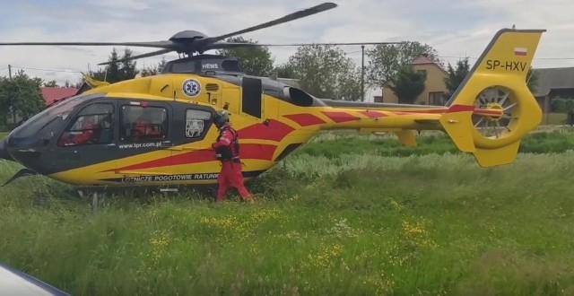 Śmigłowiec przyleciał do Domacyn, by zabrać pogryzionego przez psa dwulatka