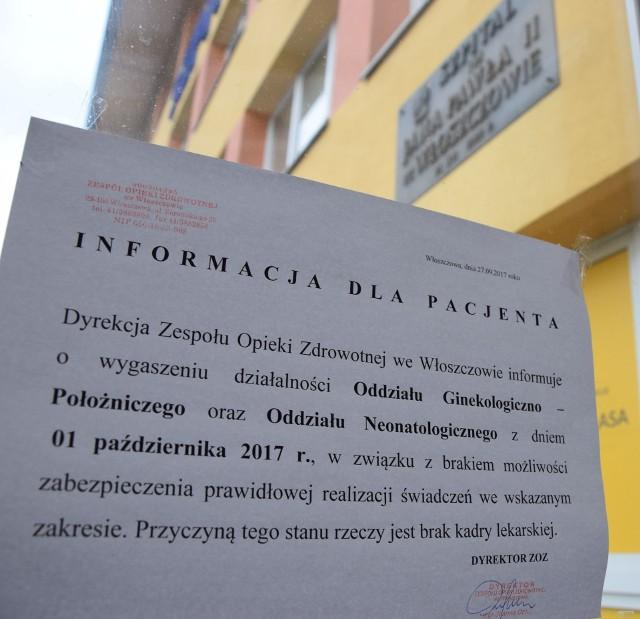 Burzę wokół ginekologii wywołało to ogłoszenie dyrektorki szpitala, które rozwieszono pod koniec września w całym Zespole Opieki Zdrowotnej we Włoszczowie.