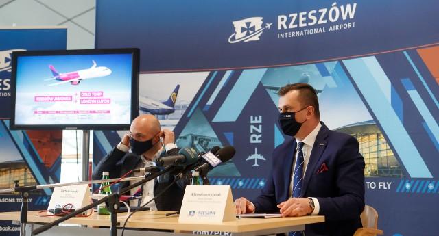 Nowe połączenia lotnicze z Jasionki - konferencja prasowa.