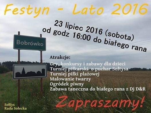 W sobotę 23 lipca na stadionie w Bobrówku odbędzie się festyn na powitanie lata.