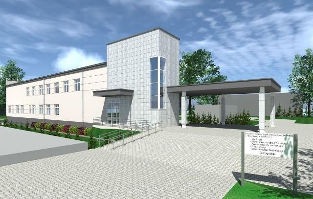 Tak będzie wyglądał nowy pawilon zabiegowy przy szpitalu w Pionkach. Obiekt będzie gotowy w sierpniu 2021 roku.