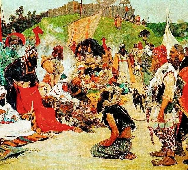 """Siergiej Iwanow, """"Targ na ziemiach wschodnich Słowian"""", 1912 r."""