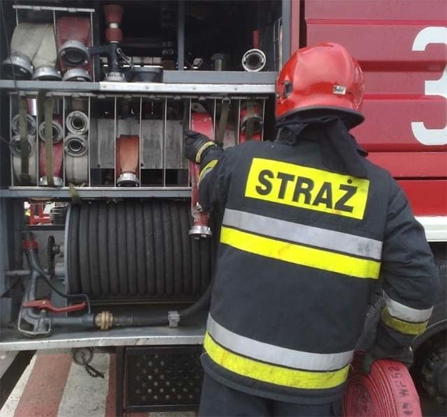 Drawscy strażacy wyciągnęli wymęczonego psa z wyrobiska wypełnionego do połowy wodą.