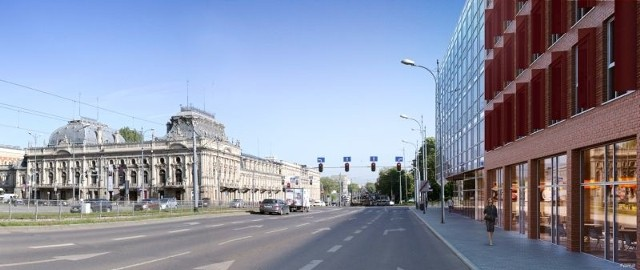 Bliżej ul. Ogrodowej elewacja budynku będzie wykonana ze szkła.
