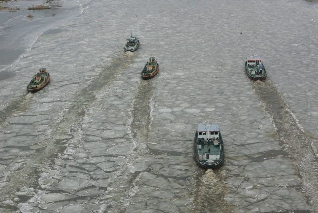 Tak wyglądała akcja łamania lodu na Odrze w Kostrzynie nad Odrą w 2014 r.