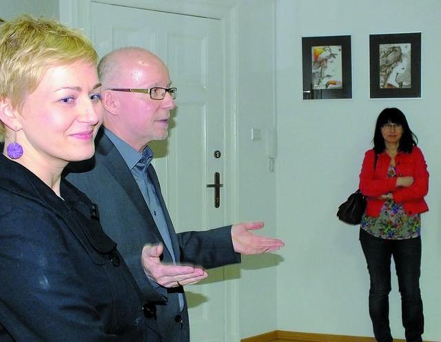 Piotr Kuzimski z żoną, Małgorzatą, podczas uroczystego otwarcia Pracowni