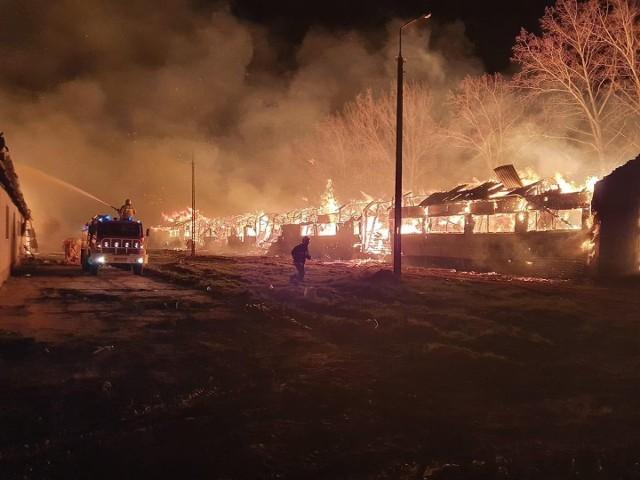 W wyniku pożaru doszczętnie spłonęły dwa budynki gospodarcze.