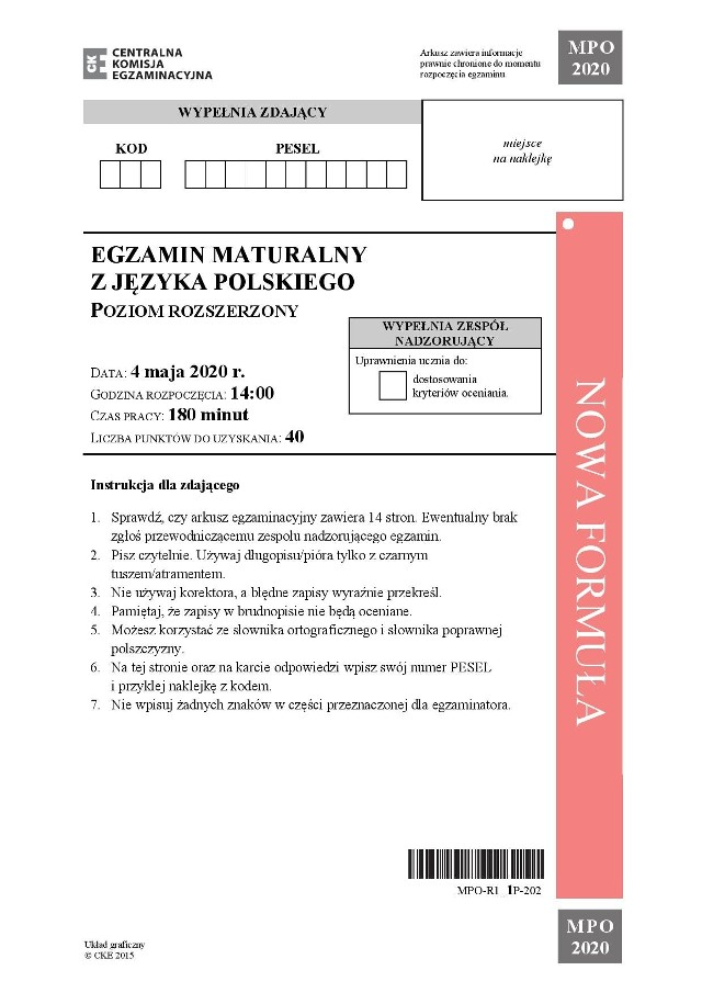 Zobacz arkusz z matury 2020 z języka polskiego na poziomie rozszerzonym oraz prawidłowe odpowiedzi.Uwaga, nasi eksperci na bieżąco dodają kolejne odpowiedzi (odświeżaj stronę)Zobacz arkusz i odpowiedzi ----->