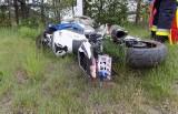 Dramatyczny wypadek motocyklisty w Jaworzniku. Ciężko ranny 43-letni mężczyzna został przetransportowany helikopterem do szpitala